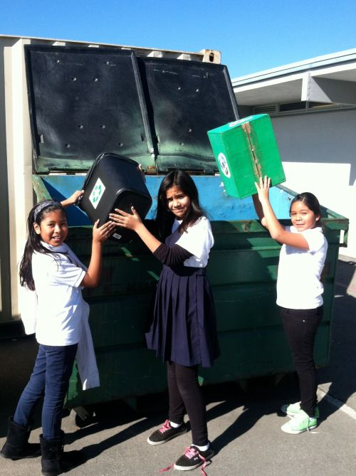Girls Recycling
